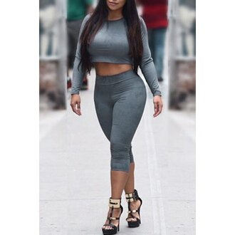 crop tops curvy bodycon gym street long sleeves high waisted rose wholesale