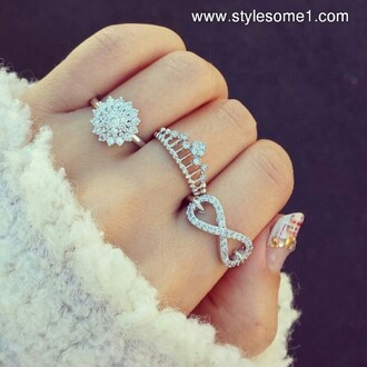 jewels ring crown ring infinity ring flowers flower ring pretty rings