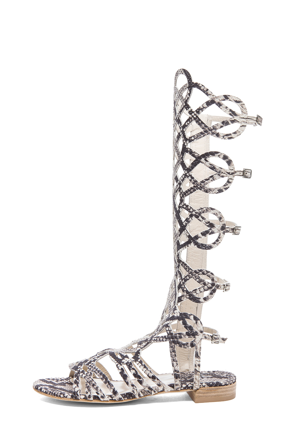 Stuart Weitzman Aphrodite Embossed Leather Sandals in Natural Snake