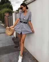 dress,mini dress,stripes,sneakers,bag,sunglasses,belt,button up