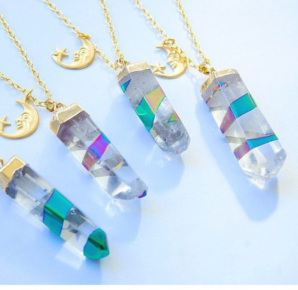jewels holographic crystal quartz moon and stars necklace moon necklace choker necklace crystal quartz