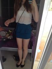 skirt,blue skirt,cotton on,tube skirt,t-shirt,white,tucked in,cute,outgoing,shirt