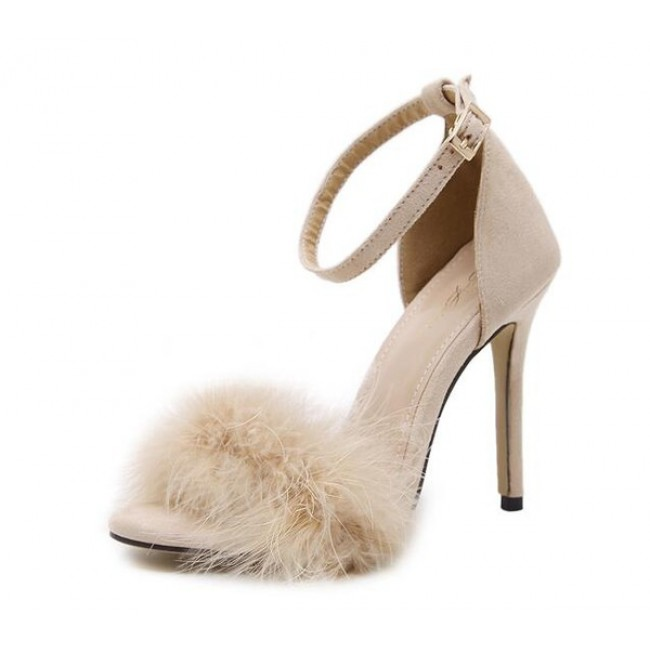 Nude Suede Ankle Strap Faux Fur High Heel Sandals