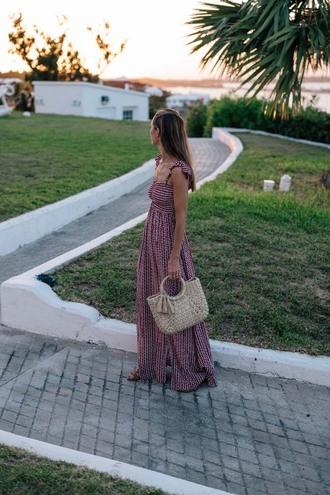 dress tumblr maxi dress long dress summer dress summer outfits bag straw bag