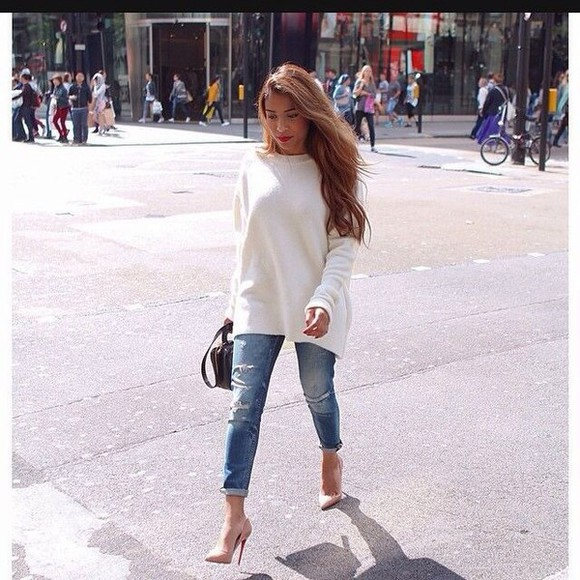 shoes christian louboutin classy fall outfits jeans boyfriend jeans high heels