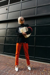 pants,tumblr,orange,shoes,white shoes,top,black top,bag,handbag