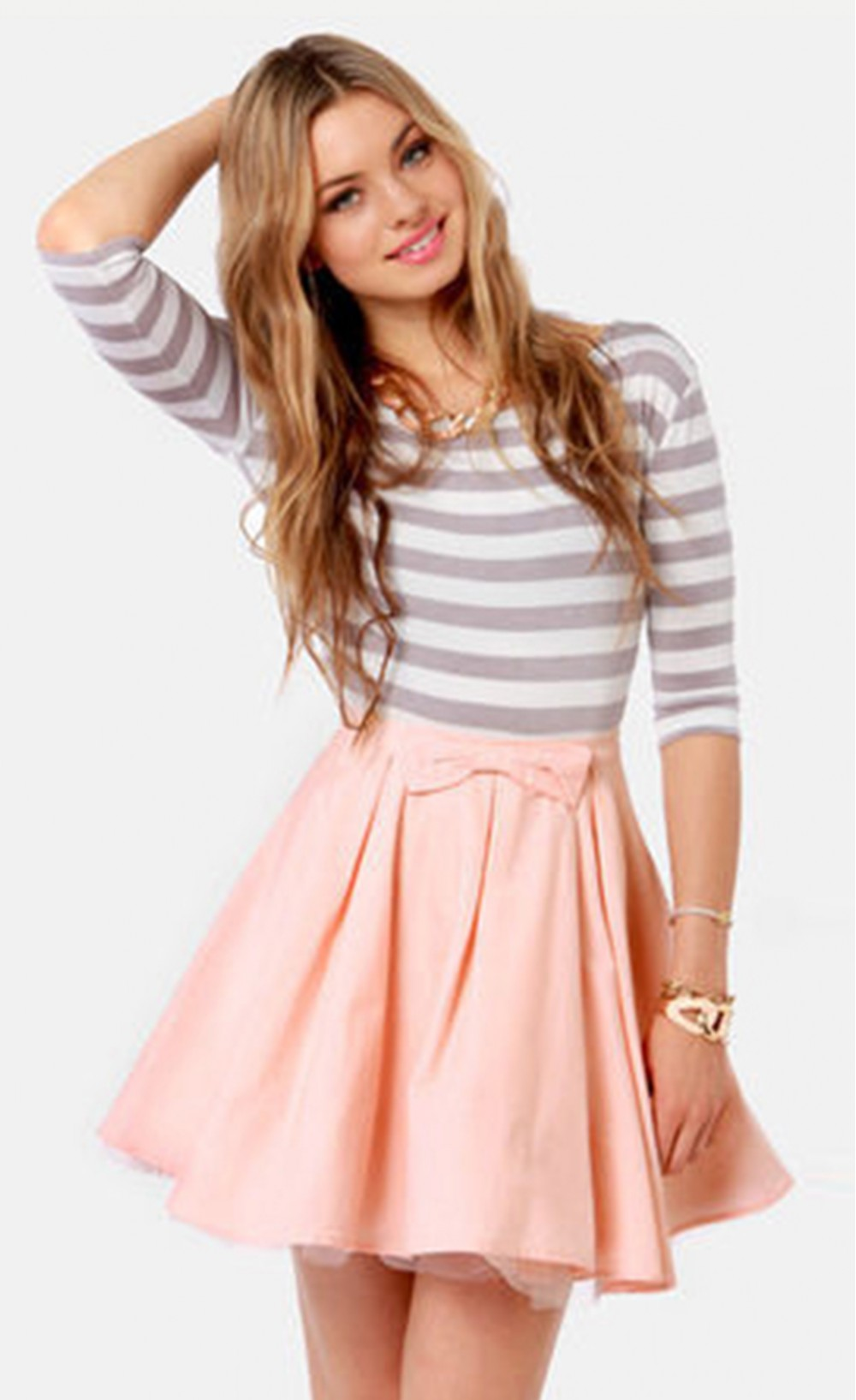 Neck half sleeve bowknot striped pleated dress