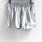 Shinning silver curved hem shorts - sheinside.com