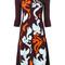 Versace - contrast baroque knit dress - women - polyamide/polyester/spandex/elastane/viscose - 46, pink/purple, polyamide/polyester/spandex/elastane/viscose