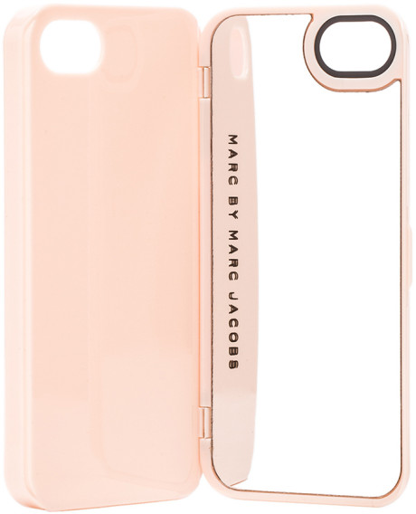 Marc by marc jacobs standard supply compact mirror iphone case in pink (fluoro coral multi)