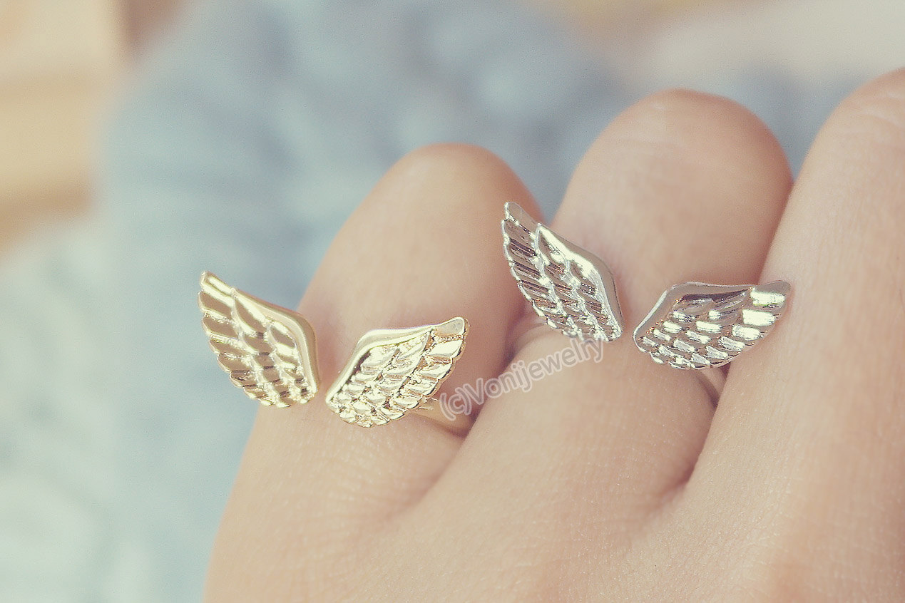open sets wrap men adjustable silver bridal for style band women cocktail gold plated feather rings emerald leaf sterling finger angel product ring