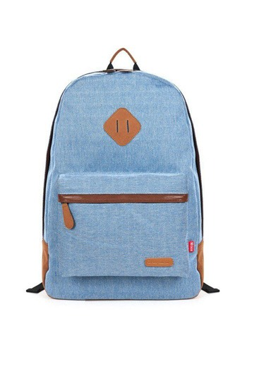 Zipped Leather Trim Canvas Travel Backpack [FPB193]- US$49.99 - PersunMall.com