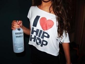 shirt white oversized asymmetrical i love hip hop
