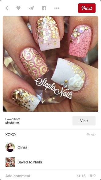 nail polish pink gold sparkle white