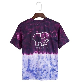 shirt purple tie dye fashion style summer cool elephant musheng
