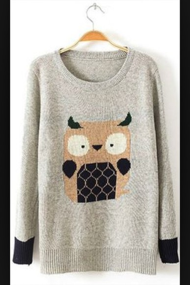 owl sweater knitted