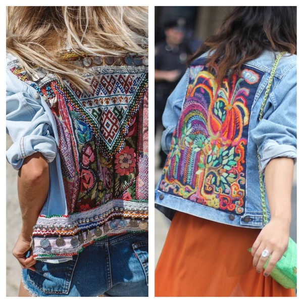Vintage Upcycled Bohemian Denim Jeans Jacket Tribal Patch