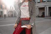 lolita mas,blogger,t-shirt,pants,shoes,coat,bag,blazer,red pants,fall outfits