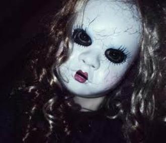 make-up mask scary cracked doll