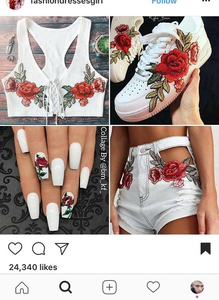 140f4d52c shorts, rose, roses, shoes, shirt, lace, lace top, gucci, crop tops ...