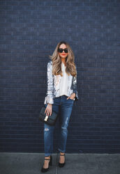 the teacher diva,blogger,jacket,jeans,blouse,bag,shoes,jewels,make-up,black bag,high heel pumps,sequin jacket,tumblr,sequins,silver,silver jacket,denim,blue jeans,shirt,white shirt