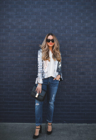 the teacher diva blogger jacket jeans blouse bag shoes jewels make-up black bag high heel pumps sequin jacket tumblr sequins silver silver jacket denim blue jeans shirt white shirt
