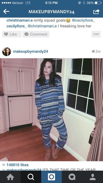 pajamas blue onesie tribal leggings