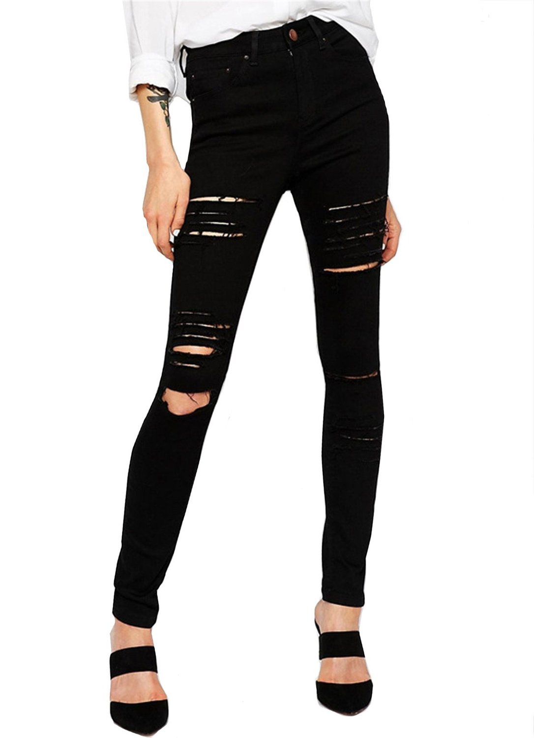 bc8eb4cef3 Shein Women's Slim Cut Out Black Pants at Amazon Women's Clothing store: