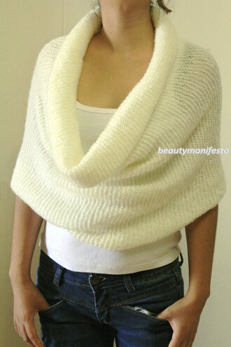 wrap scarf clothes women knitting cowl hood europeanstreetteam winter accessory shoulder wrap oversized scarves cream knitted cowl knitted gift cozy cowl mohair cowl