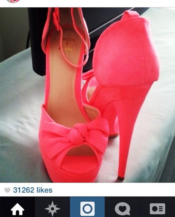 shoes coral high heels bow neon