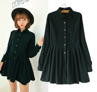 dress black coat buttons shirt blouse cute short girly fashion style hat kawaii casual japanese fashion long sleeves fall outfits girl
