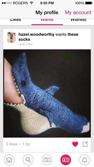 socks funny shark knitwear