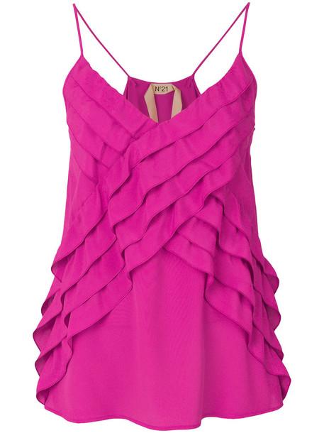 No21 blouse strappy women silk purple pink top