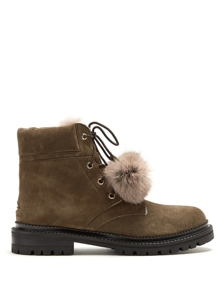 Jimmy Choo fur ankle boots suede dark grey shoes