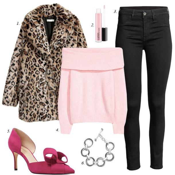 dailystylefinds blogger jacket jeans sweater shoes jewels leopard coat faux fur coat winter outfits pink sweater pumps