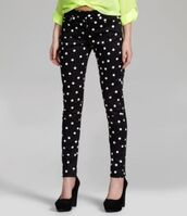 jeans,polka dots,pants,bottoms,black,white,black and white