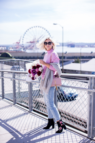 late afternoon blogger sweater jeans shoes bag scarf sunglasses jewels ankle boots pink sweater ysl bag fall outfits