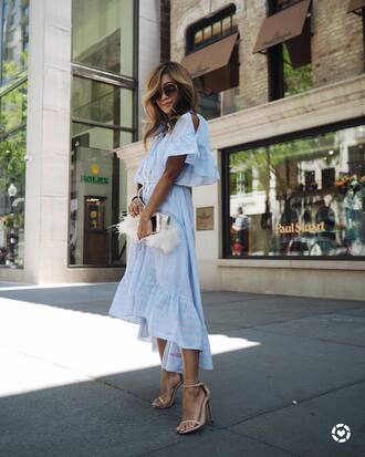 dress tumblr midi dress blue dress high low dress sandals sandal heels high heel sandals bag furry bag round sunglasses shoes