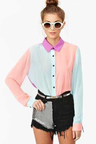 blouse clothes shirt collared multicolor button up pastel