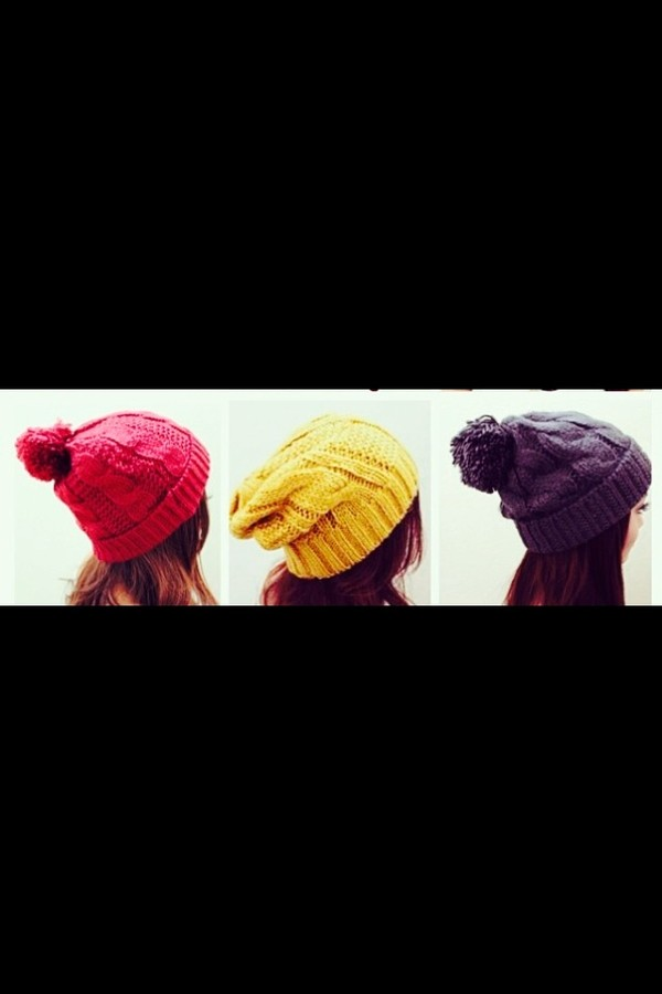 hat colorful hats beanie beanie warm the knitted hat red red hat winter outfits winter hat winter knit hat yellow yellow hat blue blue hat