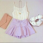 shorts,purple shorts,purple,lavender,bow shorts,bow,purple bow shorts,cute,girly,pretty,pretty outfit,wedges,white wedges,white chiffon top,chiffo,chiffon,chiffon top,clutch,summer,blouse