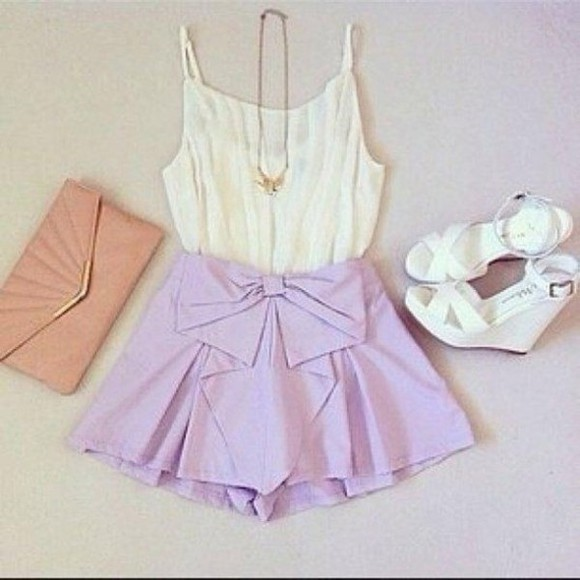 shorts clutch wedges summer girly chiffon cute pretty pretty outfit girly outfit purple shorts purple lavender bow shorts bow purple bow shorts white wedges white chiffon top chiffo chiffon top