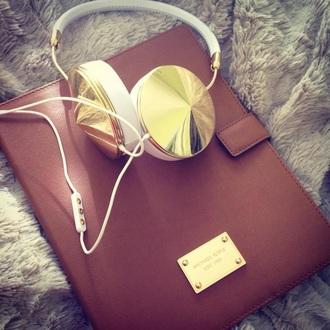 earphones white gold headphones