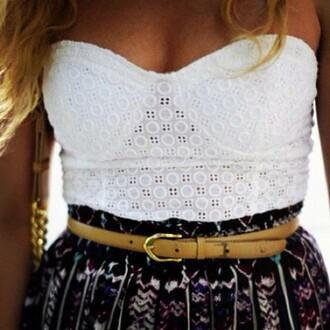 shirt corset top corset white belt skirt aztec skirt lace pattern top crop tops tank top bustier crochet