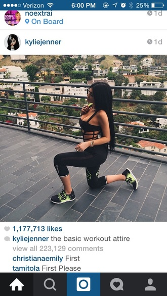 top kylie jenner workout workout top black caged caged bralette caged crop top shoes romper