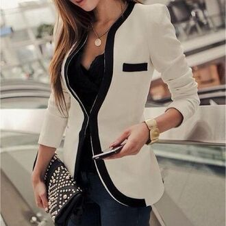 jacket blazer white blazer black and white black and white blazer classy