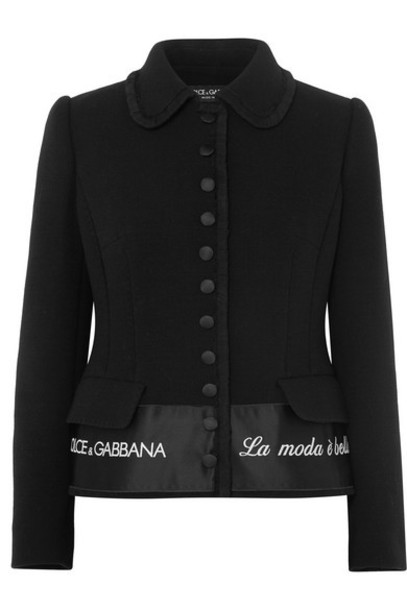 Dolce & Gabbana - Embroidered Satin-trimmed Wool-blend Crepe Jacket - Black
