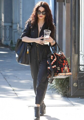 jumpsuit spring spring outfits vanessa hudgens all black everything streetstyle bag sunglasses