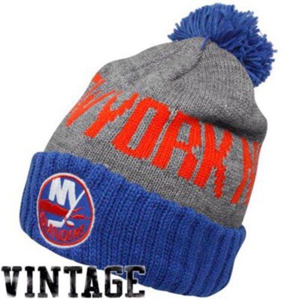 hat nyislanders orange blue home accessory new york islanders blue or orange beanie edgy style