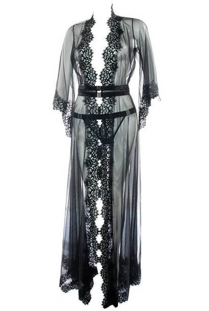 pajamas, long robe, black long robe, black robe, black gown ...